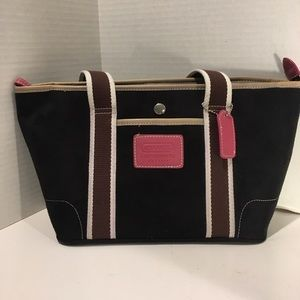 Coach black suede handbag